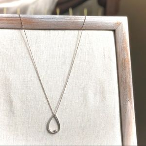 Anthropologie Silver Teardrop Simple Necklace